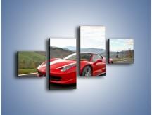 Obraz na płótnie – Czerwone Ferrari 458 Italia – czteroczęściowy TM194W3
