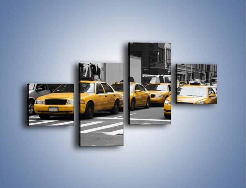 Obraz na płótnie – Amerykańskie taksówki w korku ulicznym – czteroczęściowy TM219W3