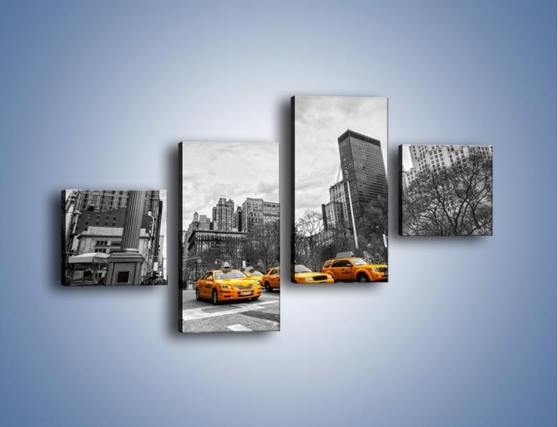 Obraz na płótnie – Żółte taksówki na szarym tle miasta – czteroczęściowy TM225W3