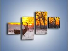 Obraz na płótnie – Jeleń o zachodzie słońca – czteroczęściowy Z164W3