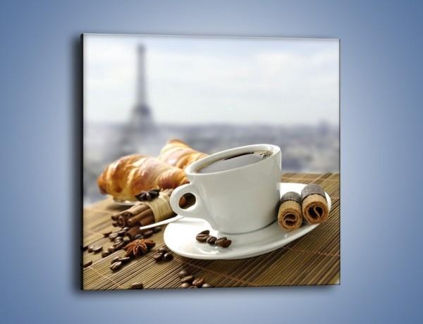 Obraz na płótnie – Francuski poranek z kawą – jednoczęściowy kwadratowy JN383