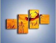 Obraz na płótnie – Czaple i zachód słońca – czteroczęściowy Z302W3