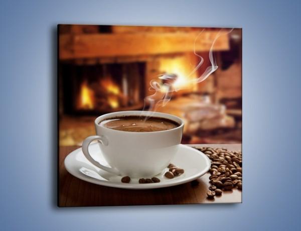 Obraz na płótnie – Kawa przy kominku – jednoczęściowy kwadratowy JN385