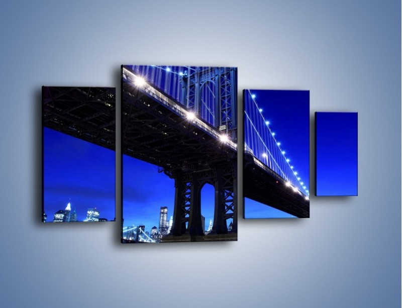 Obraz na płótnie – Oświetlony most wieczorem – czteroczęściowy AM003W4