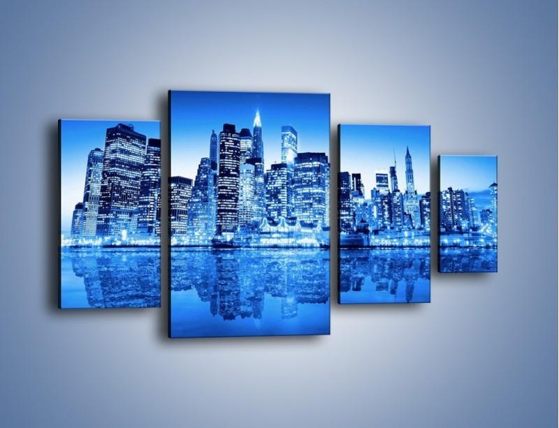 Obraz na płótnie – Odbicie miasta w tafli wody – czteroczęściowy AM004W4