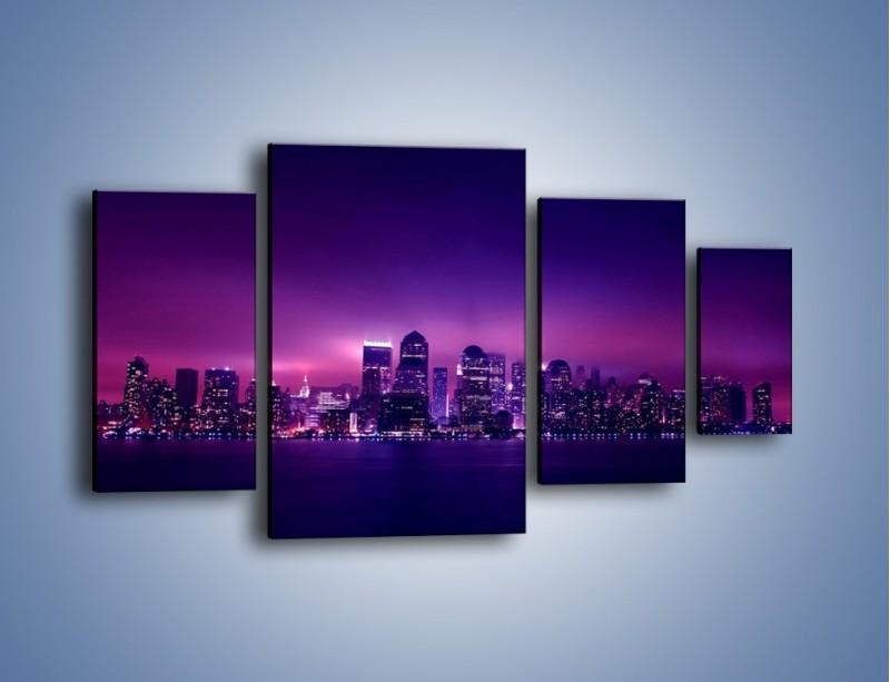 Obraz na płótnie – Wieżowce w odcieniach fioletu – czteroczęściowy AM008W4