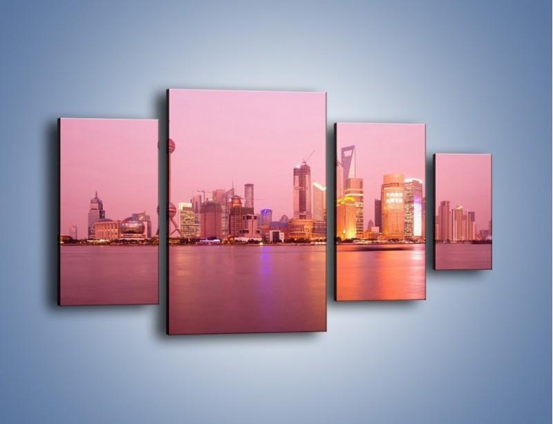 Obraz na płótnie – Miasto o poranku w odcieniach różu – czteroczęściowy AM020W4