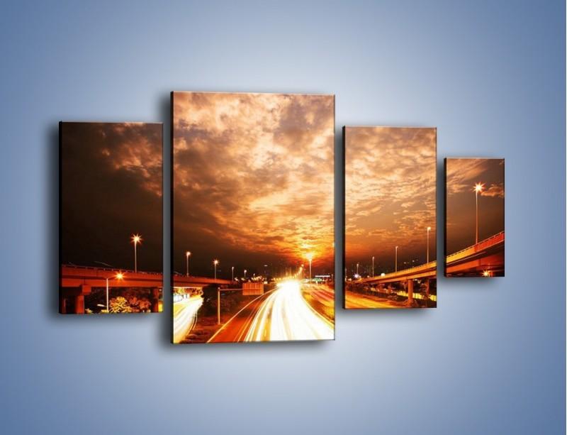 Obraz na płótnie – Oświetlona autostrada w ruchu – czteroczęściowy AM021W4