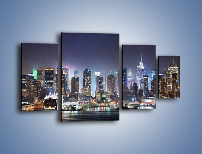Obraz na płótnie – Oświetlone miasto nocą – czteroczęściowy AM034W4