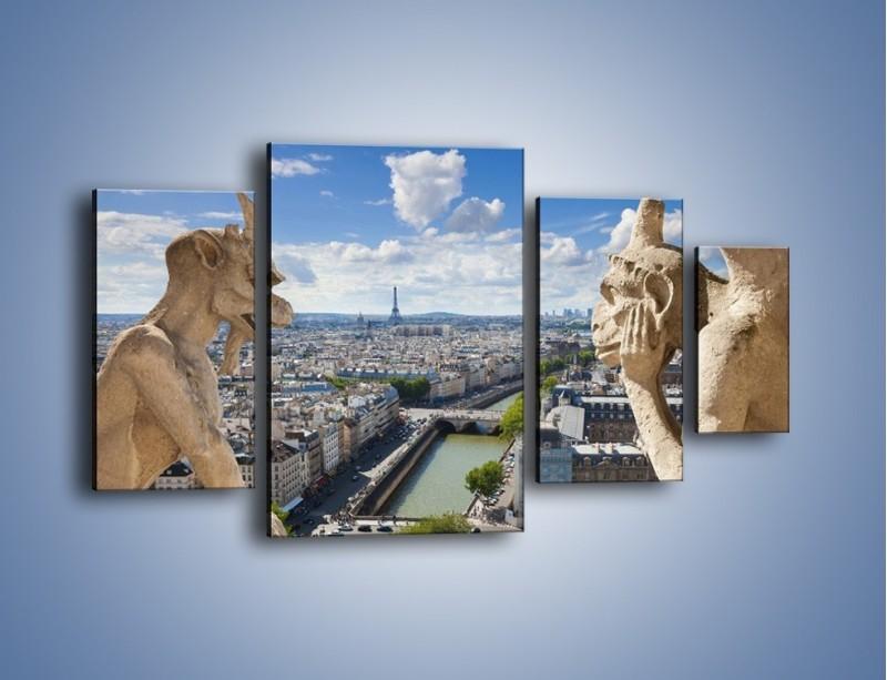 Obraz na płótnie – Kamienne gargulce nad Paryżem – czteroczęściowy AM037W4