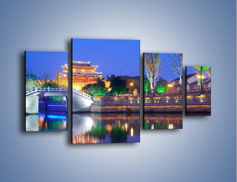 Obraz na płótnie – Dom w Japonii w świetle lamp nocnych – czteroczęściowy AM046W4