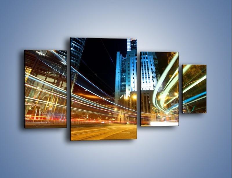 Obraz na płótnie – Światła w ruchu ulicznym – czteroczęściowy AM048W4