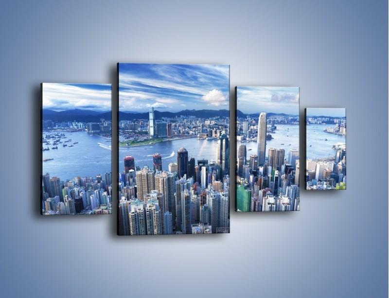 Obraz na płótnie – Miasto portowe o poranku – czteroczęściowy AM050W4