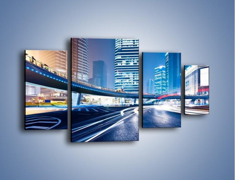 Obraz na płótnie – Wieczorny ruch uliczny w centrum miasta – czteroczęściowy AM051W4