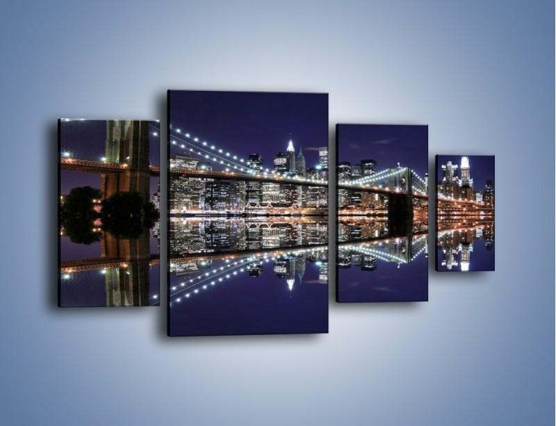 Obraz na płótnie – Most Brookliński w lustrzanym odbiciu wody – czteroczęściowy AM067W4