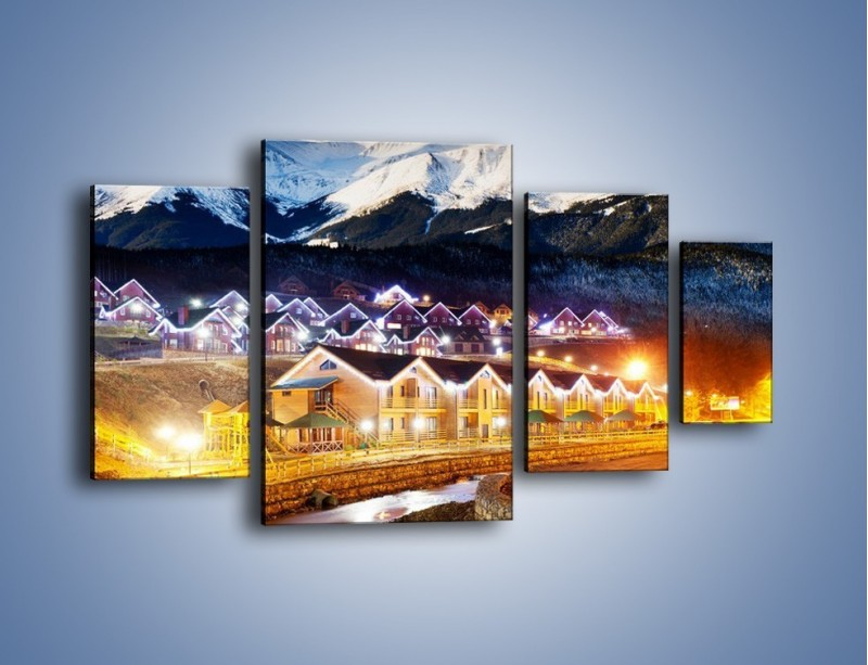 Obraz na płótnie – Oświetlone domki pod górami – czteroczęściowy AM070W4
