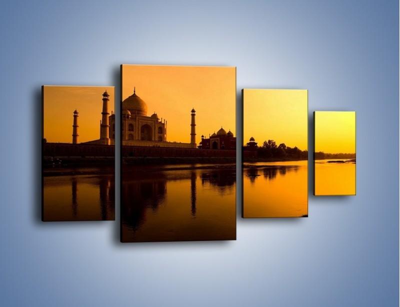 Obraz na płótnie – Taj Mahal o zachodzie słońca – czteroczęściowy AM075W4