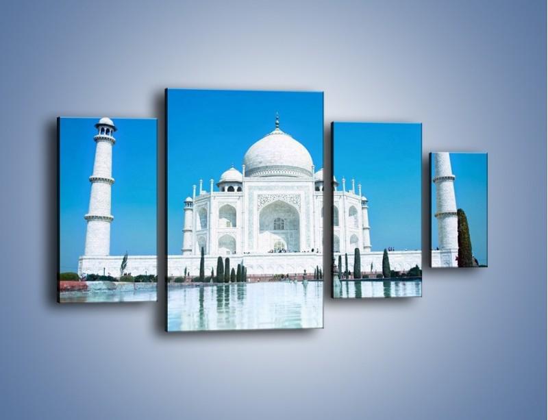 Obraz na płótnie – Taj Mahal pod błękitnym niebem – czteroczęściowy AM077W4