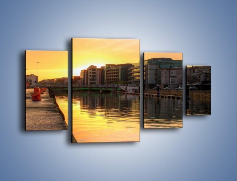 Obraz na płótnie – Kanał portowy o wschodzie słońca – czteroczęściowy AM079W4