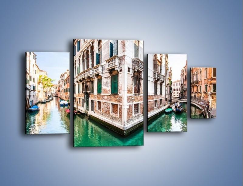 Obraz na płótnie – Skrzyżowanie wodne w Wenecji – czteroczęściowy AM081W4