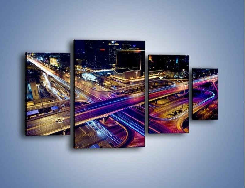Obraz na płótnie – Skrzyżowanie autostrad nocą w ruchu – czteroczęściowy AM087W4
