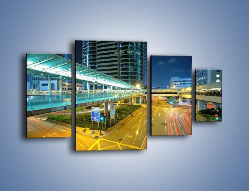 Obraz na płótnie – Droga na lotnisko w Japonii – czteroczęściowy AM088W4