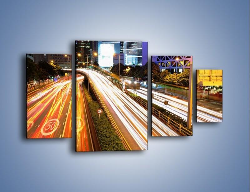 Obraz na płótnie – Ulice w ruchu w mieście – czteroczęściowy AM089W4