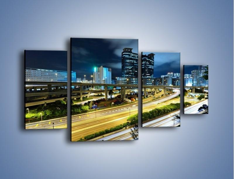 Obraz na płótnie – Przedmieście miasta wieczorem – czteroczęściowy AM091W4