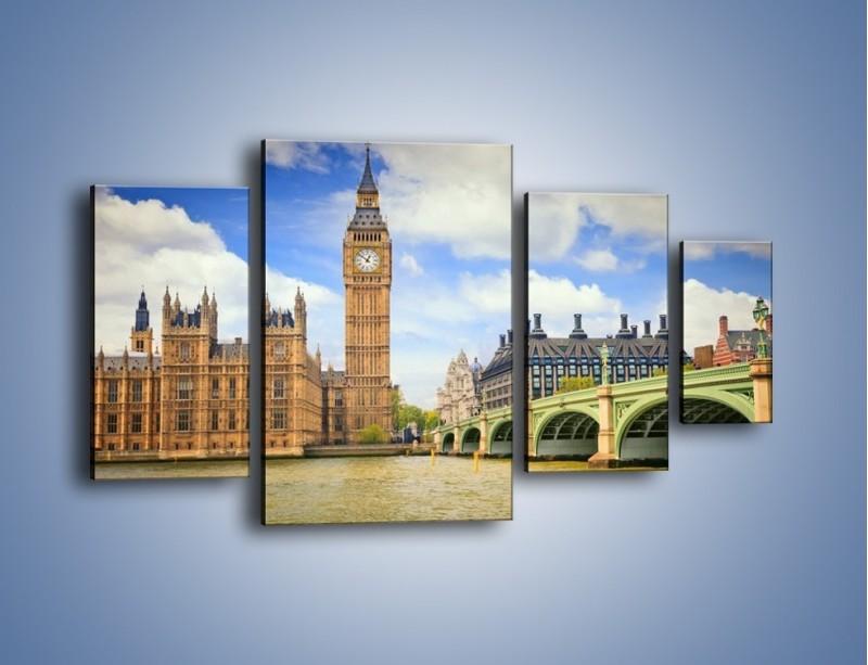 Obraz na płótnie – Big Ben w pochmurny dzień – czteroczęściowy AM095W4