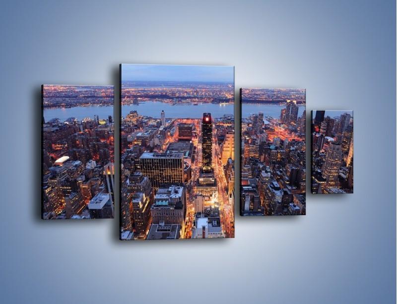 Obraz na płótnie – Budzące się ze snu miasto – czteroczęściowy AM097W4
