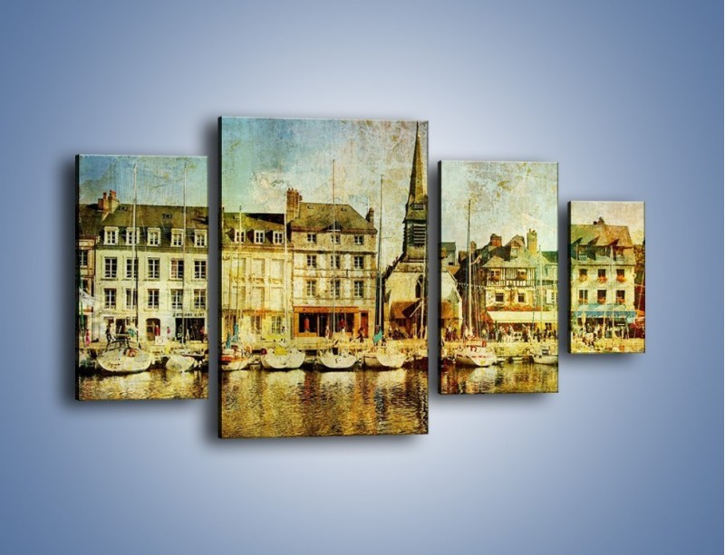 Obraz na płótnie – Łódki nad brzegiem miasteczka w stylu vintage – czteroczęściowy AM108W4