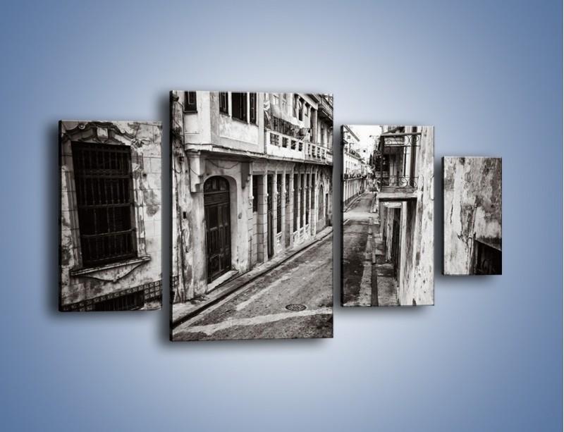 Obraz na płótnie – Urokliwa uliczka w starej części miasta – czteroczęściowy AM124W4