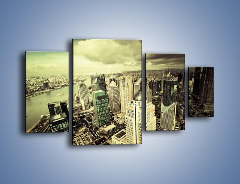Obraz na płótnie – Ciemne chmury nad miastem – czteroczęściowy AM130W4