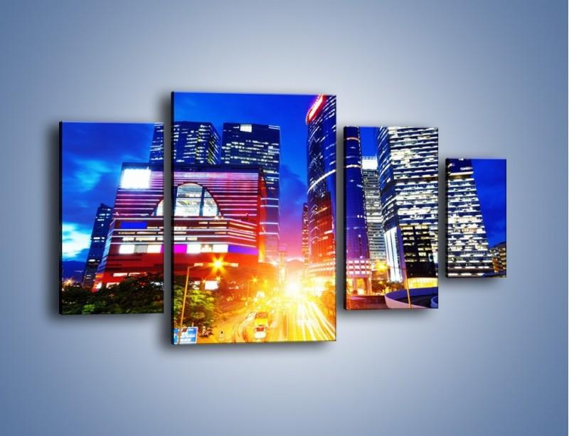 Obraz na płótnie – Miasto w żywych kolorach – czteroczęściowy AM131W4