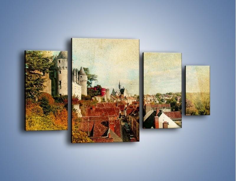 Obraz na płótnie – Zamek nad miasteczkiem w stylu vintage – czteroczęściowy AM142W4