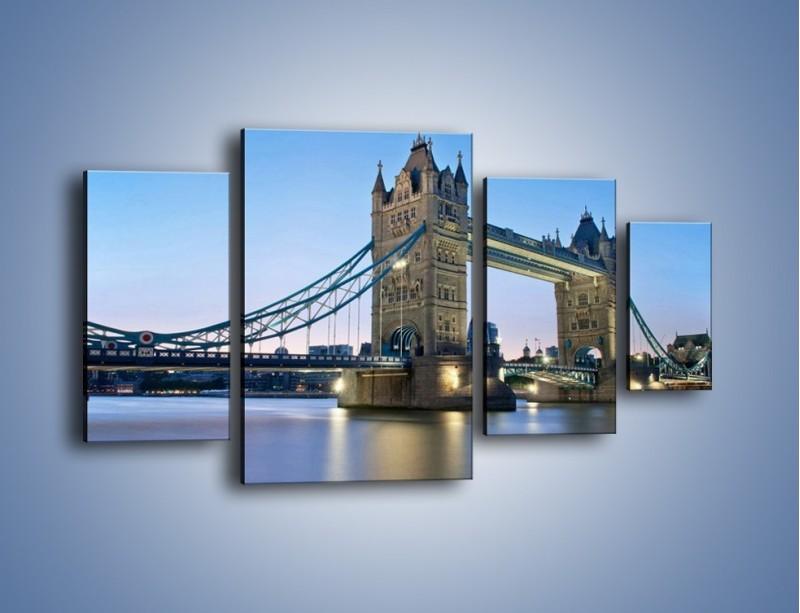 Obraz na płótnie – Tower Bridge o poranku – czteroczęściowy AM143W4