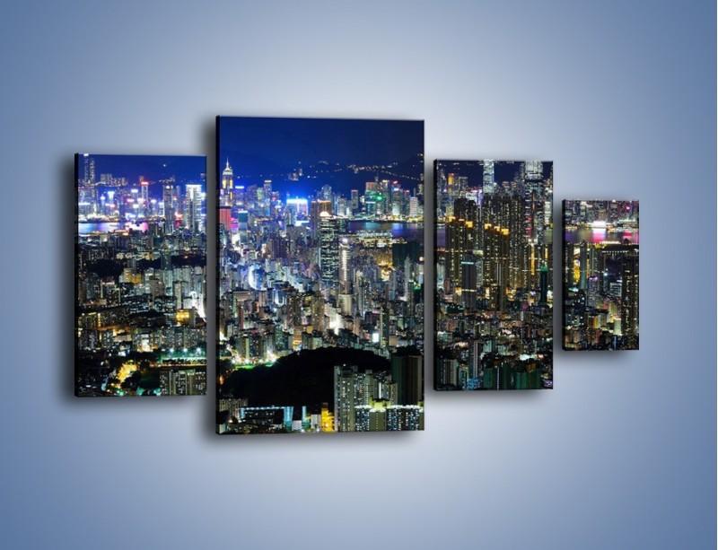 Obraz na płótnie – Nocne światła w dużym mieście – czteroczęściowy AM144W4