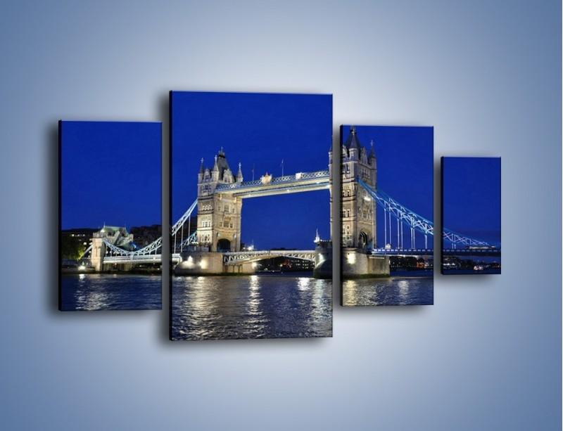 Obraz na płótnie – Tower Bridge nocą – czteroczęściowy AM145W4