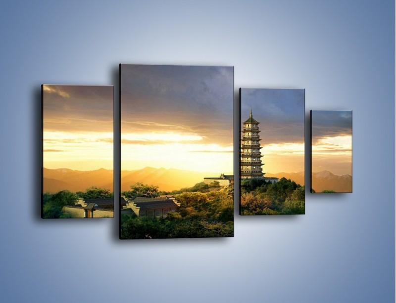 Obraz na płótnie – Azjatycka architektura o poranku – czteroczęściowy AM151W4