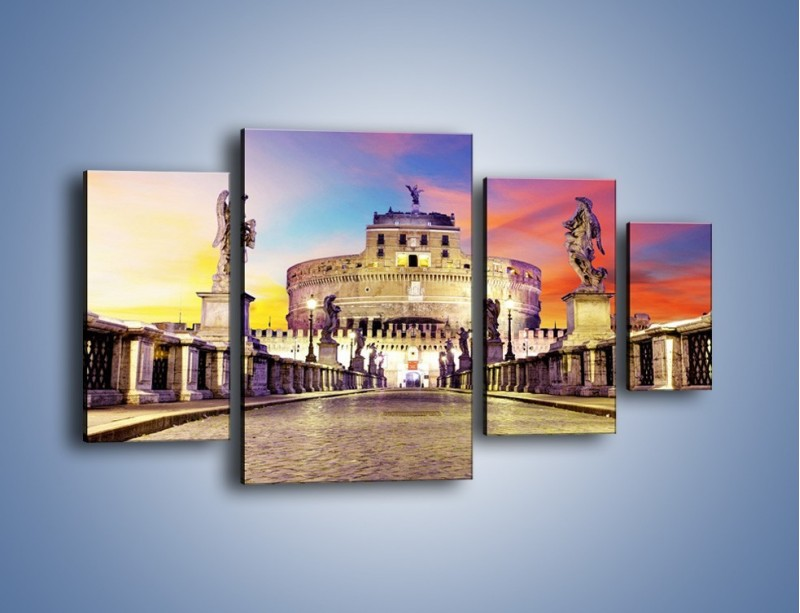 Obraz na płótnie – Zamek św. Anioła na tle kolorowego nieba – czteroczęściowy AM156W4