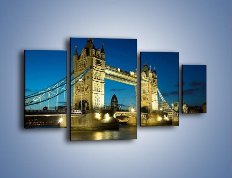 Obraz na płótnie – Tower Bridge wieczorową porą – czteroczęściowy AM159W4