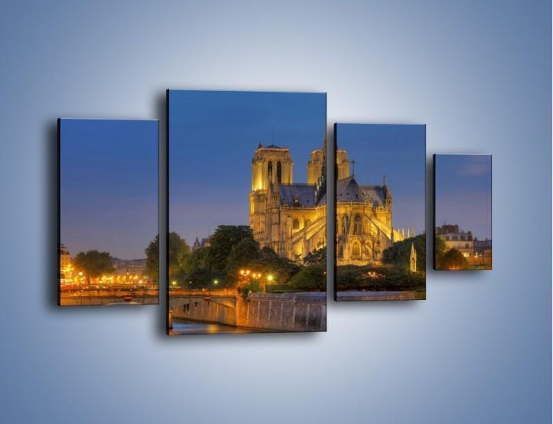 Obraz na płótnie – Kościół w świetle wieczornych lamp – czteroczęściowy AM170W4