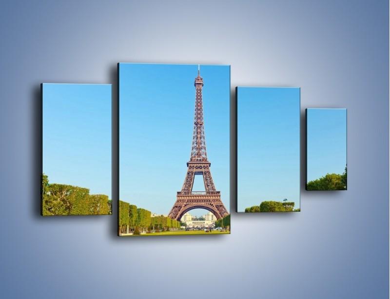Obraz na płótnie – Wieża Eiffla pod błękitnym niebem – czteroczęściowy AM171W4