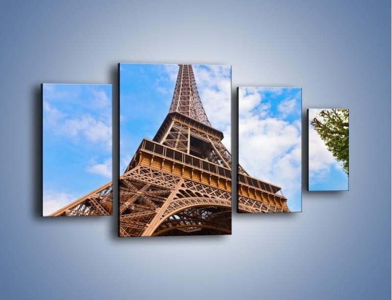 Obraz na płótnie – Wieża Eiffla pod chmurkami – czteroczęściowy AM173W4