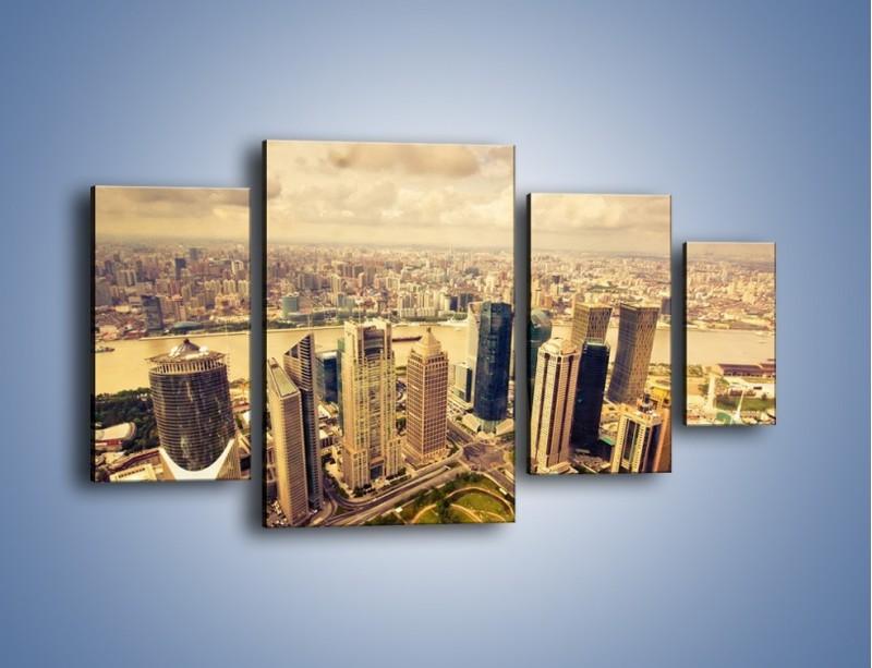Obraz na płótnie – Miasto w pochmurny dzień – czteroczęściowy AM178W4