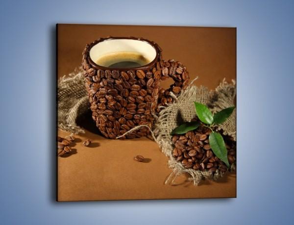 Obraz na płótnie – Kubek z ziarnami kawy – jednoczęściowy kwadratowy JN388