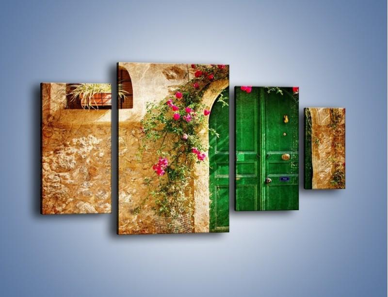 Obraz na płótnie – Drzwi w greckim domu vintage – czteroczęściowy AM192W4