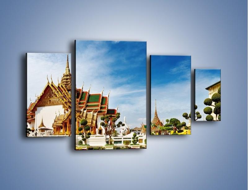Obraz na płótnie – Tajska architektura pod błękitnym niebem – czteroczęściowy AM197W4