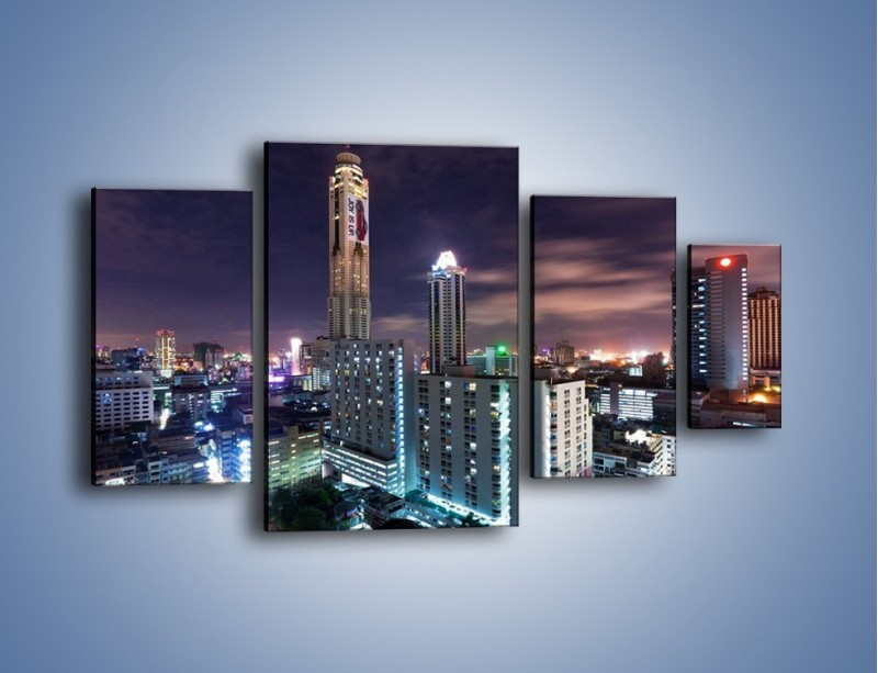 Obraz na płótnie – Duże miasto nocą – czteroczęściowy AM202W4