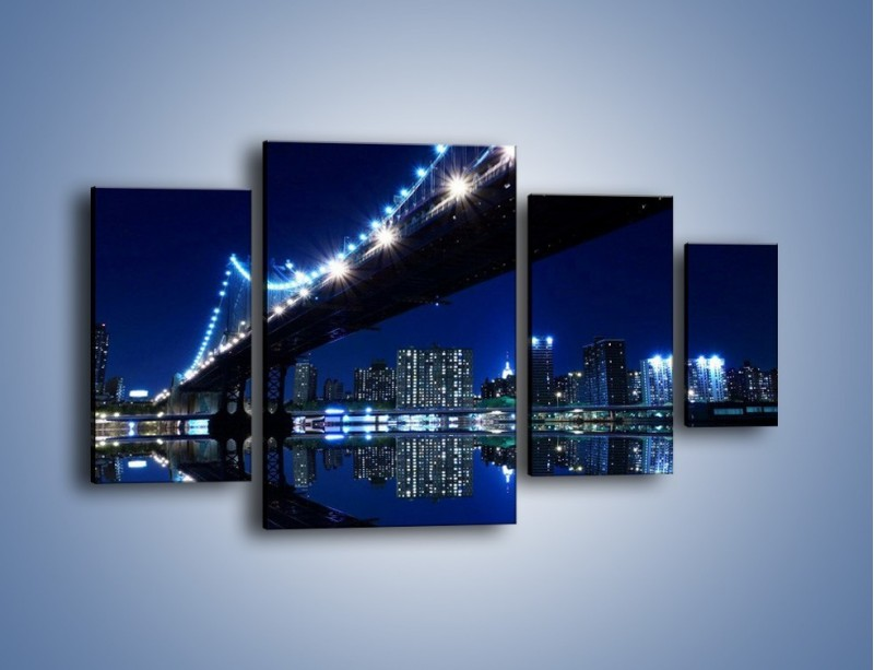 Obraz na płótnie – Oświetlony most w odbiciu wody – czteroczęściowy AM211W4